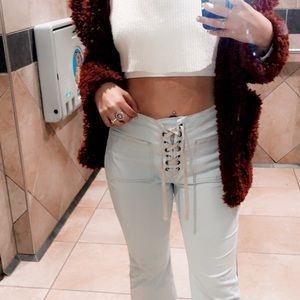 urban outfitters lace up crop flare jeans